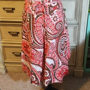 Talbots Boho Cotton/Linen Bandana Skirt, sz 6